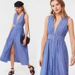 UO Stripe Chambray Button-down Plunging Midi Dress